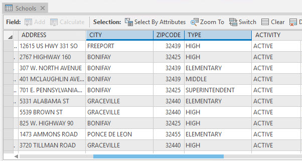 The attribute table containing the City, ZIP Code, and Type fields of the Schools layer.