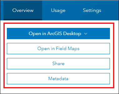 The option to open the web map in Map Viewer or Map Viewer Classic is unavailable on the its item details page.