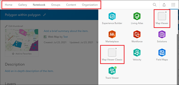 The app launcher page in ArcGIS Online showing no Map tab, and Map Viewer and Map Viewer Classic are unavailable.