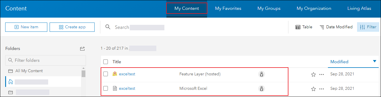 The My Content page displaying the uploaded Excel file and its hosted feature layer.