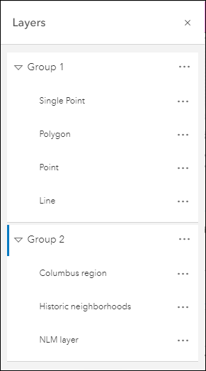 Map Viewer supports the visualization and configuration of group layers.