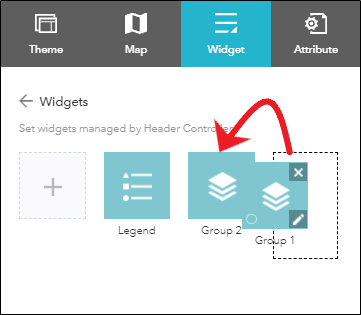 Drag and drop to group the Layer List widgets together.