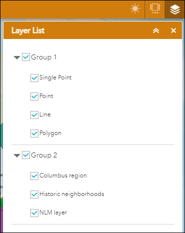 The group layers are displayed in ArcGIS Web AppBuilder.