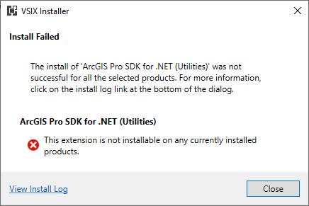 ArcGIS Pro SDK for .NET Utilities Visual Studio Extension Error