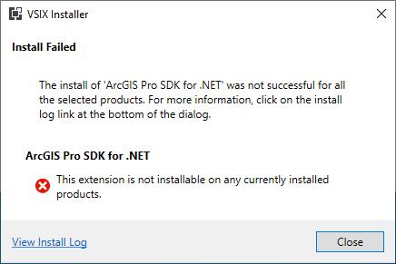 ArcGIS Pro SDK for .NET Templates Visual Studio Extension Error
