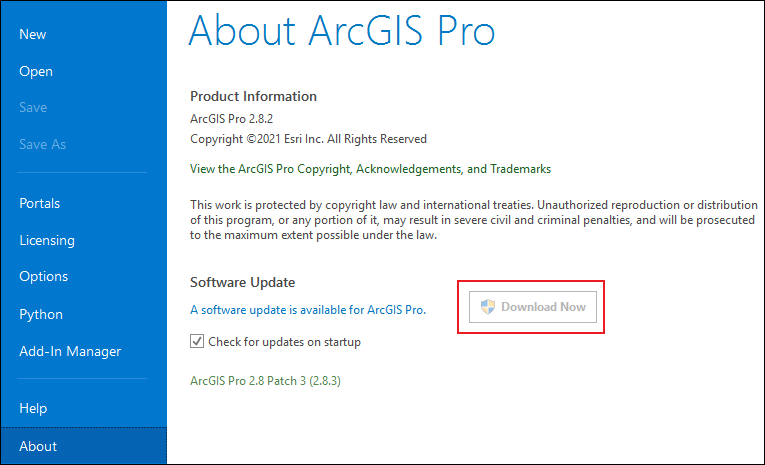 The About ArcGIS Pro page displaying the Download Now button is disabled.