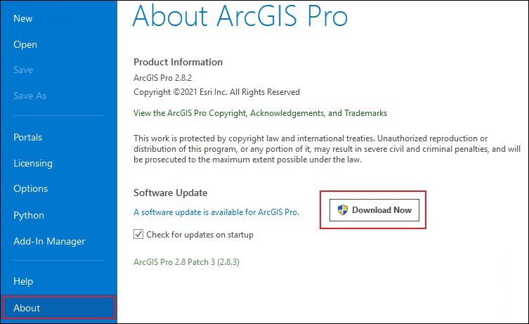 The About ArcGIS Pro page displaying the Download Now button is enabled.