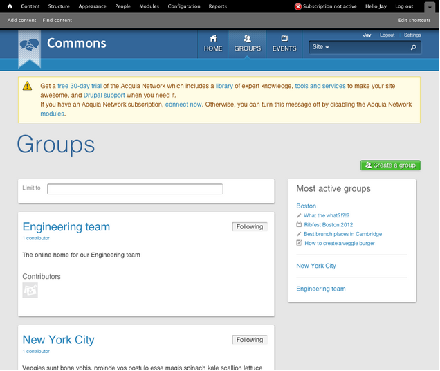 Screenshot of groups page in my local Commons install