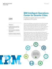 IBM Intelligent Operations Center for Smarter Cities