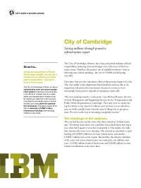 City of Cambridge - Saving millions through proactive infrastructure repair