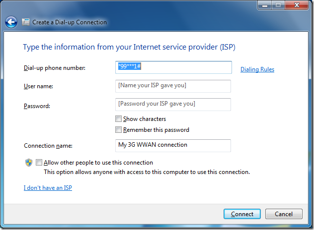 Create a Dial-up Connection details