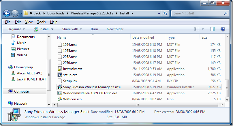 Showing the Wireless Manager installer