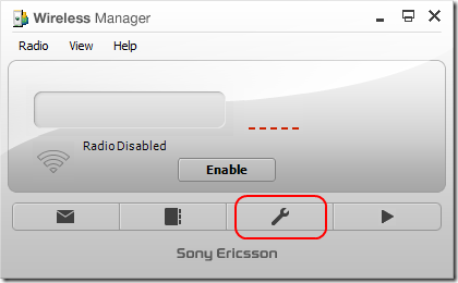 Wireless Manager UI, with setting button highlighted