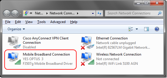 Ericsson F3507G showing as Mobile Broadband  in Network Connections