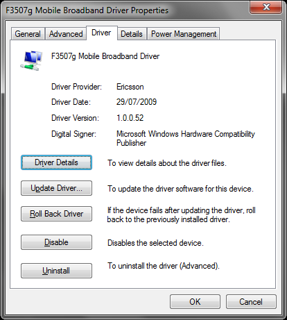 Update: Ericsson F3507g Mobile Broadband on Windows 7 with