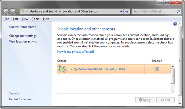 F3507g GPS Location Sensor driver for Windows 7!