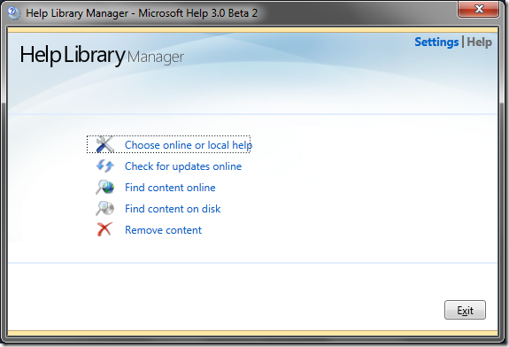 Help Library Manager screen in VS2010 Beta 2