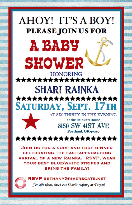 Rainka Baby Shower Invite