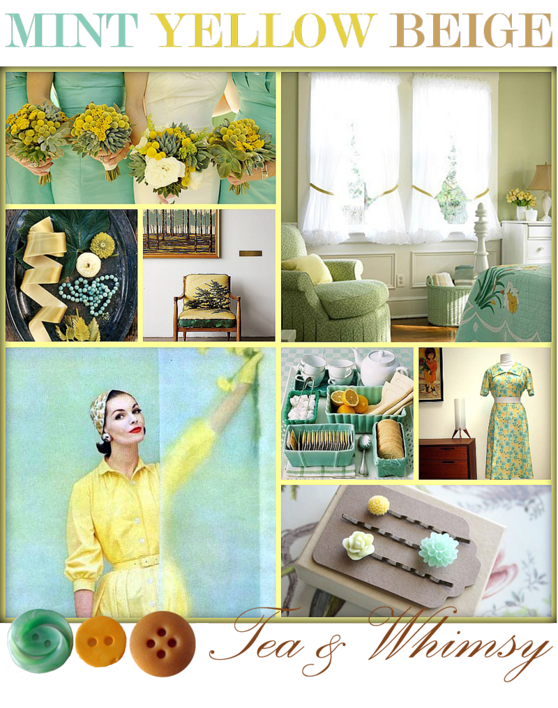 Mint,-yellow,-beige