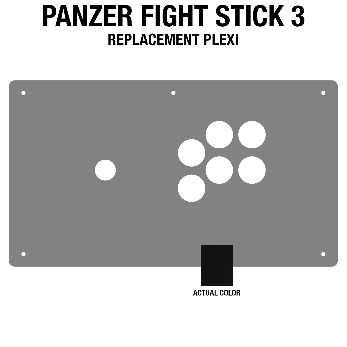 Panzer Fight Stick 3 Plexi - Black Frosted (6 Buttons)