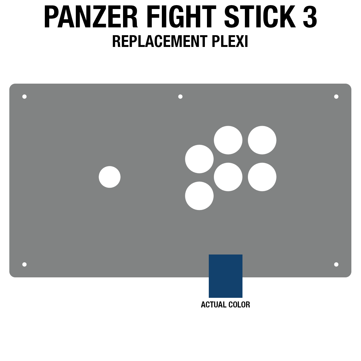 Panzer Fight Stick 3 Plexi - Blue Frosted (6 Buttons)