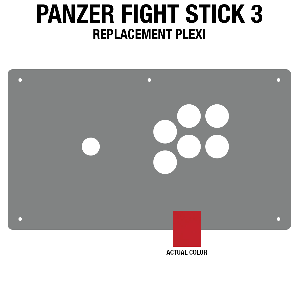 Panzer Fight Stick 3 Plexi - Red Frosted (6 Buttons)