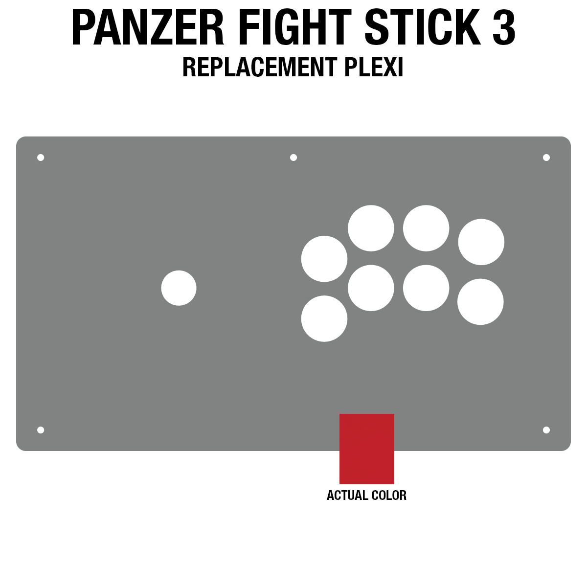 Panzer Fight Stick 3 Plexi - Red Frosted (8 Buttons)