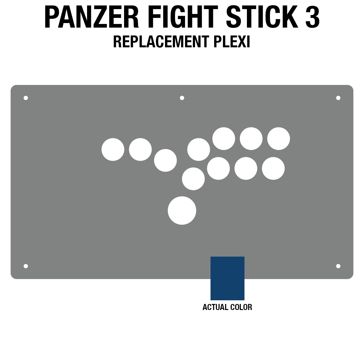 Panzer Fight Stick 3 [HITBOX] Plexi - Blue Frosted (8 Buttons)