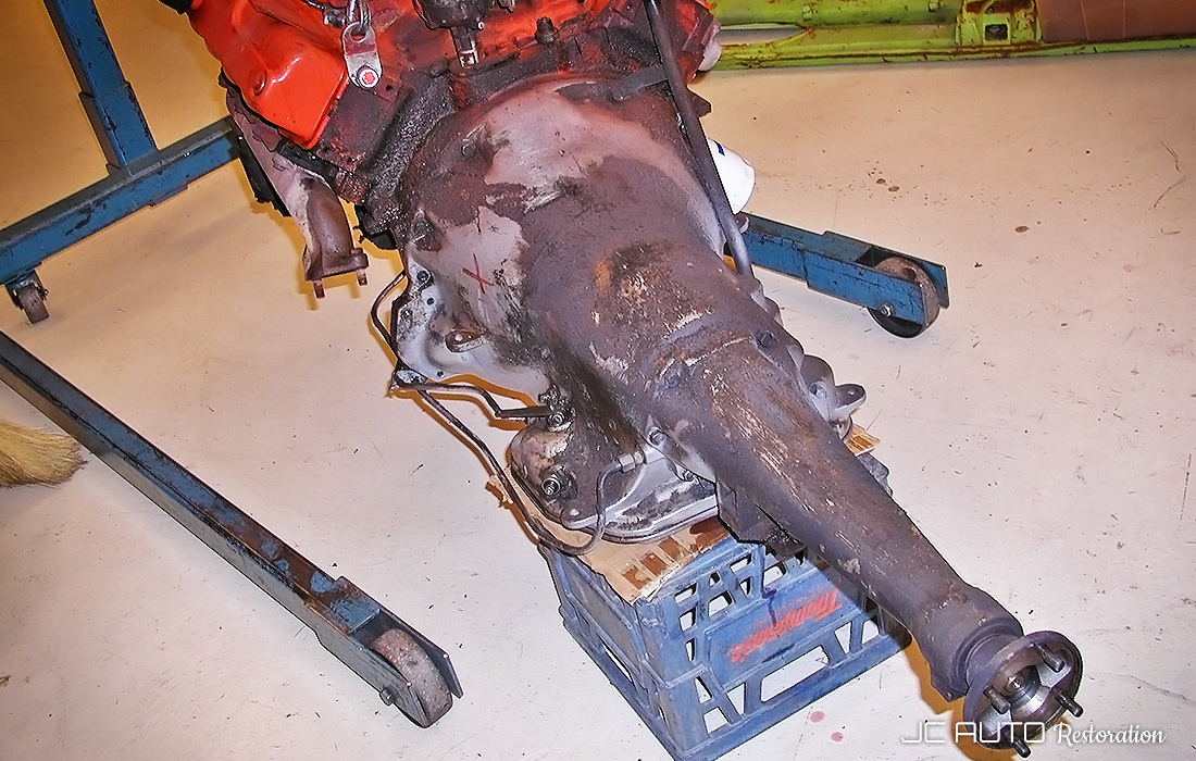 Once the engine and transmission were removed, it was apparent how badly the car needed mechanical attention.