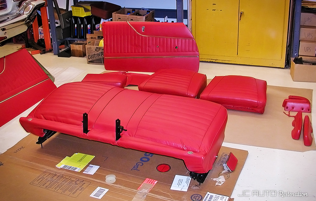 Interior panels and armrests restored and redyed by Performance Restoration