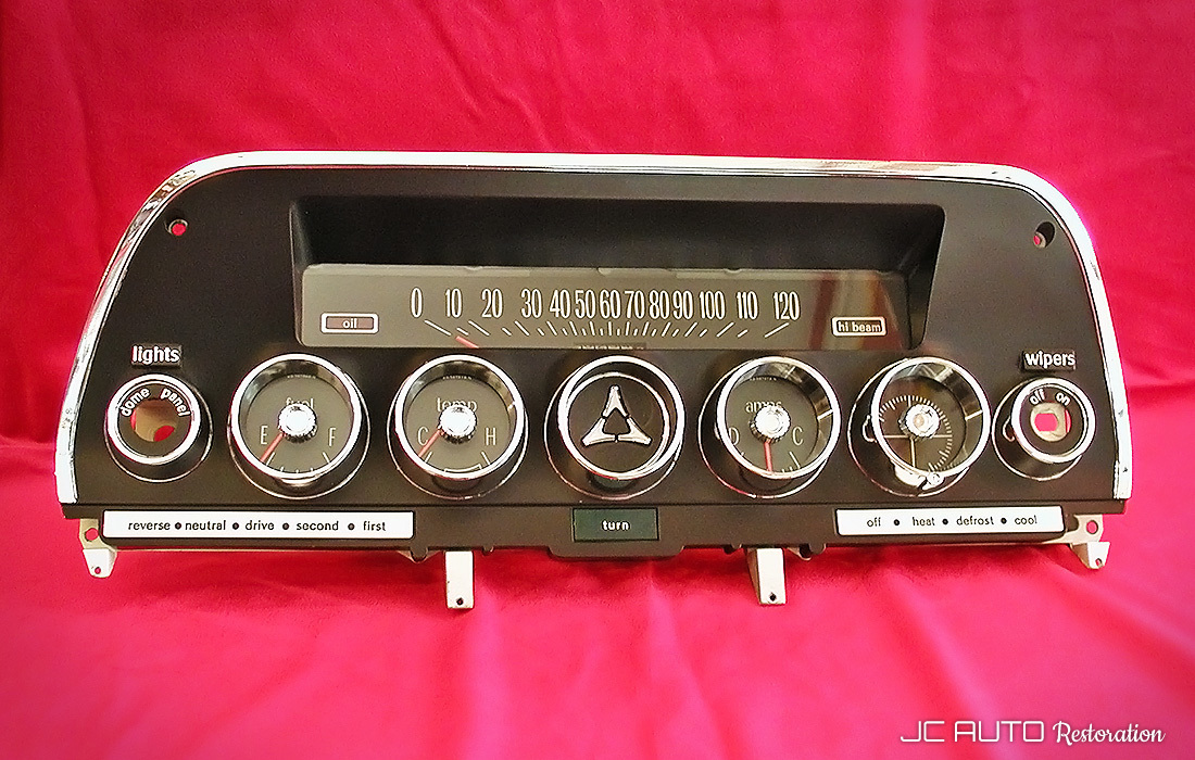 The completed instrument cluster, restored in our shop