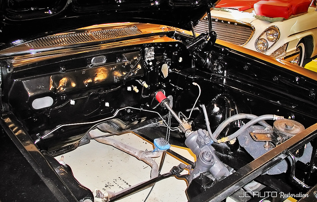 The detailed engine compartment prior to drivetrain installation