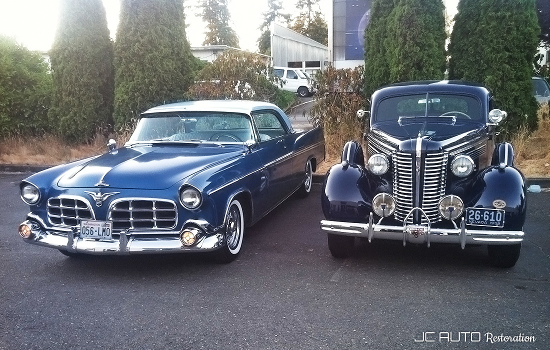 Our Imperial and 1938 Buick side by side
