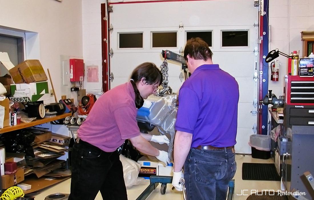Jeff Carter and Michael Jenkins at JC Auto Restoration rebuilt her engine and transmission.