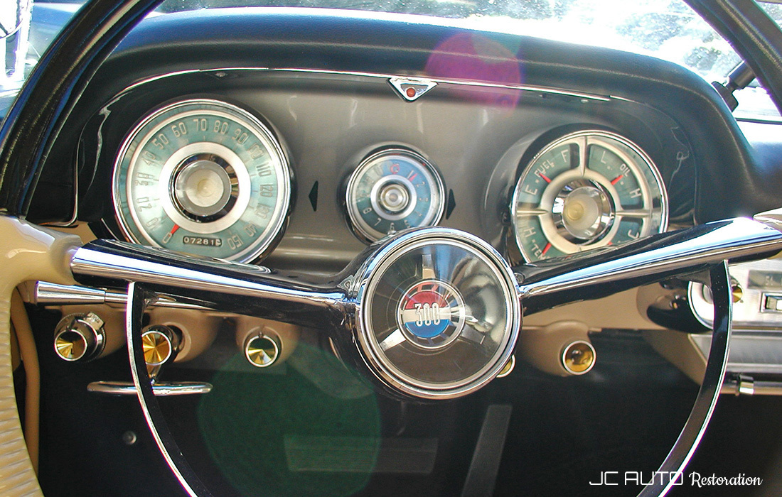 We restored the complete instrument panel, including the wiring harness, all of the gauges and switches, radio, power window switches, etc. They restored the steering wheel and installed the dash and pad.