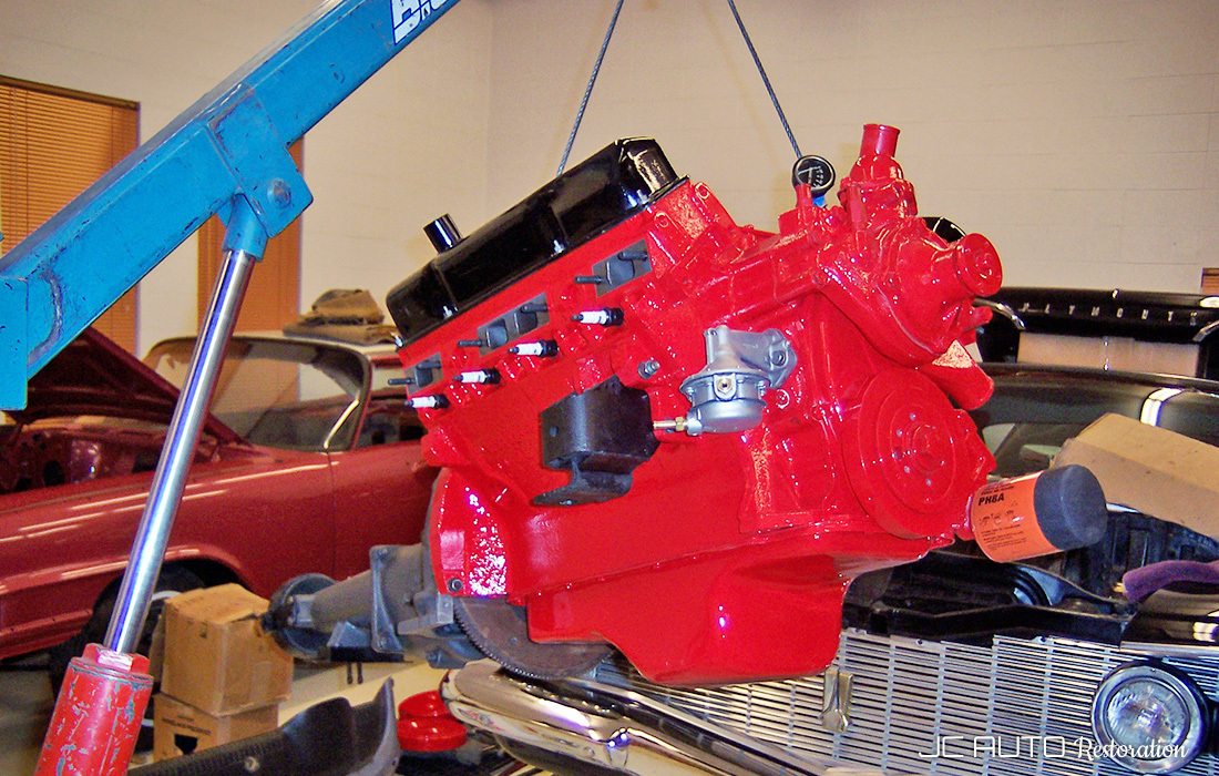 Freshly painted 413cid engine getting ready to be dropped in