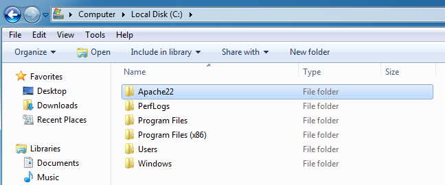 Apache Folder Location