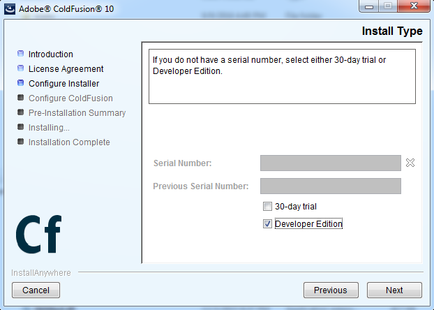 ColdFusion Configure Installer