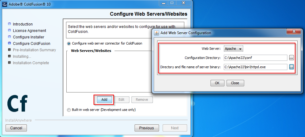 Coldfusion Configure Web Server