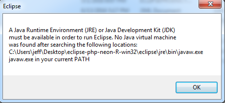 Eclipse Java Installation Error