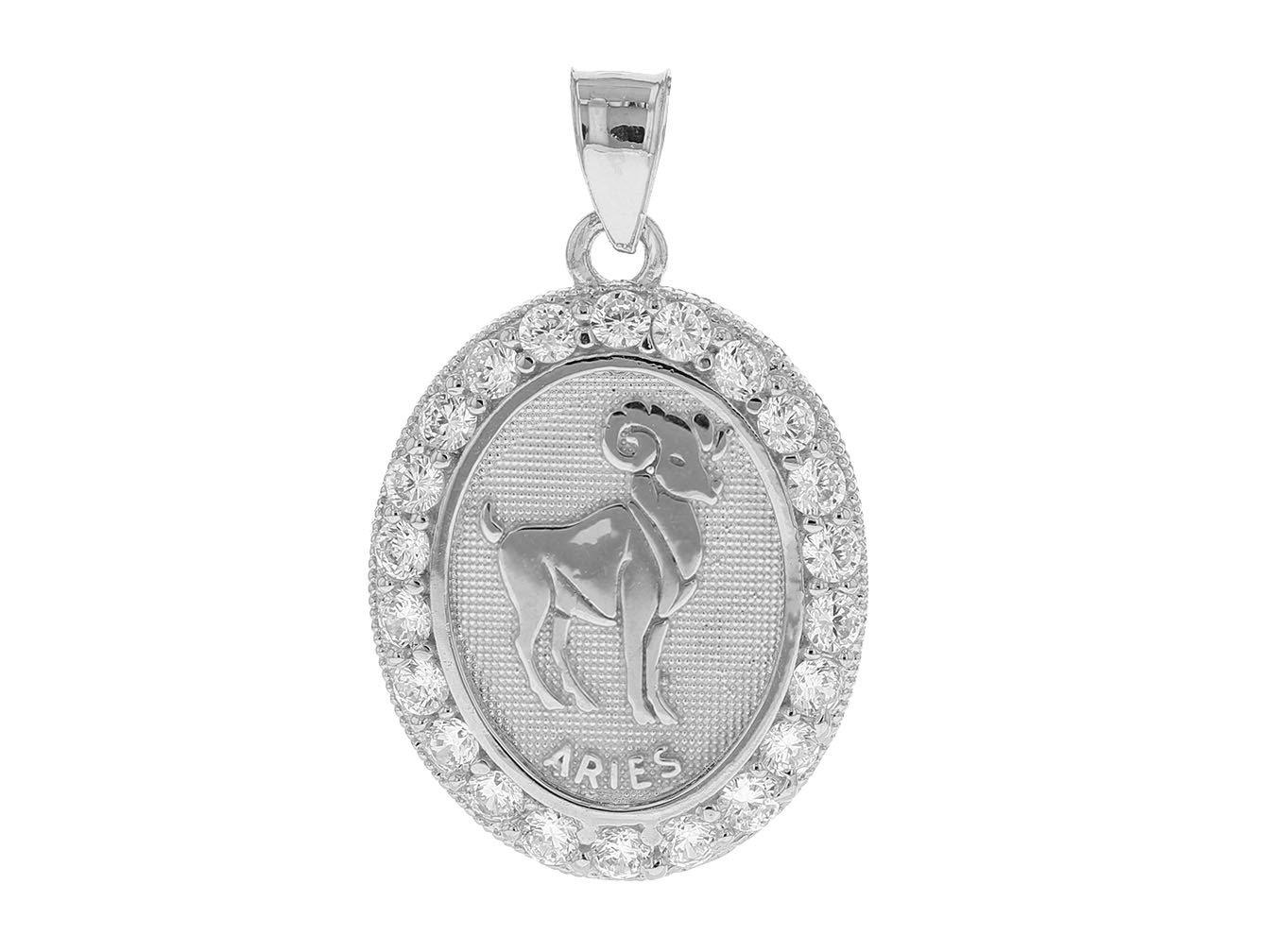 Stunning Aries Zodiac Oval CZ Halo Pendant 14k White Gold
