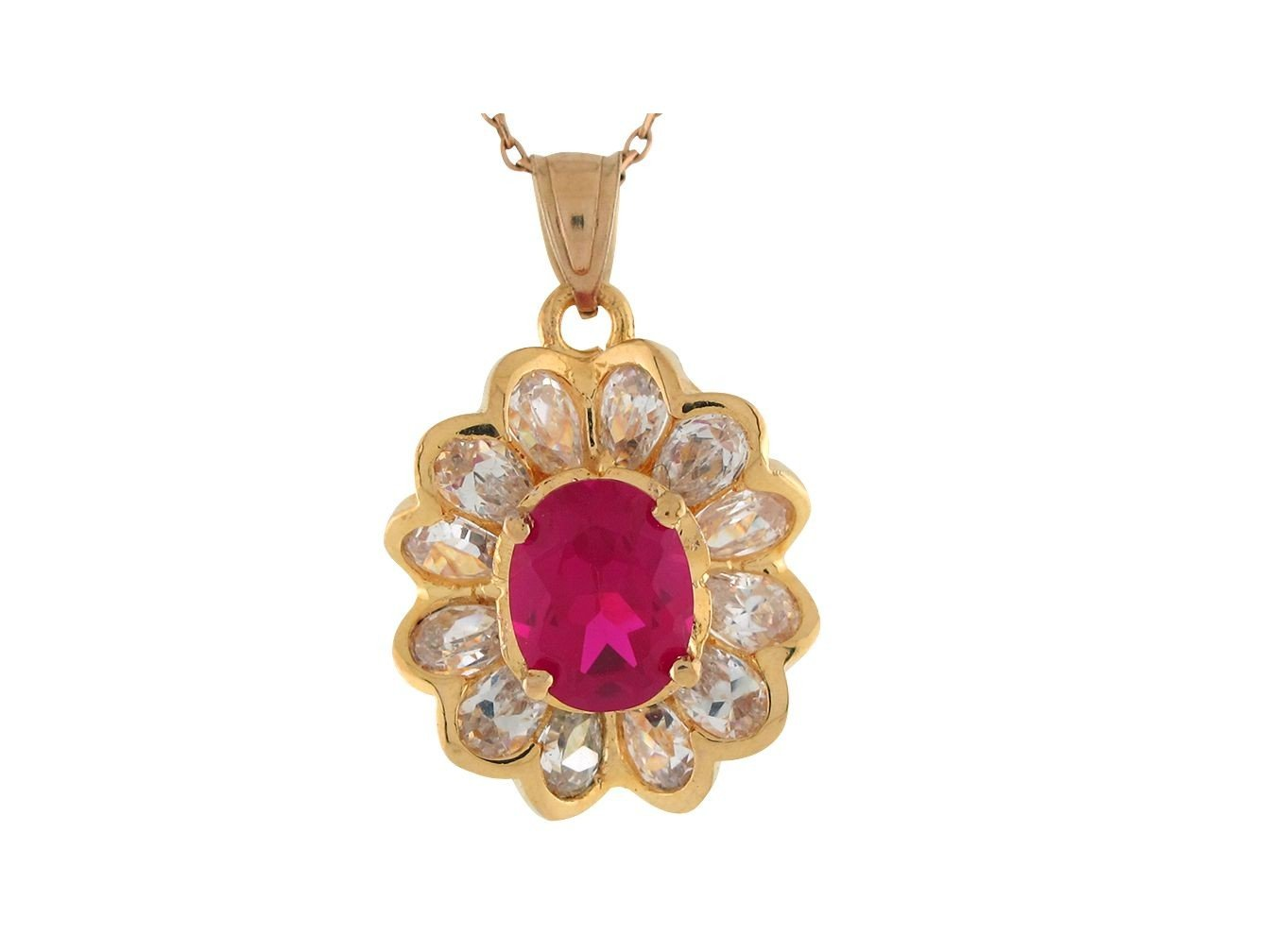 Simulated Ruby White CZ Petals Ladies July Flower Pendant 10k Yellow Gold