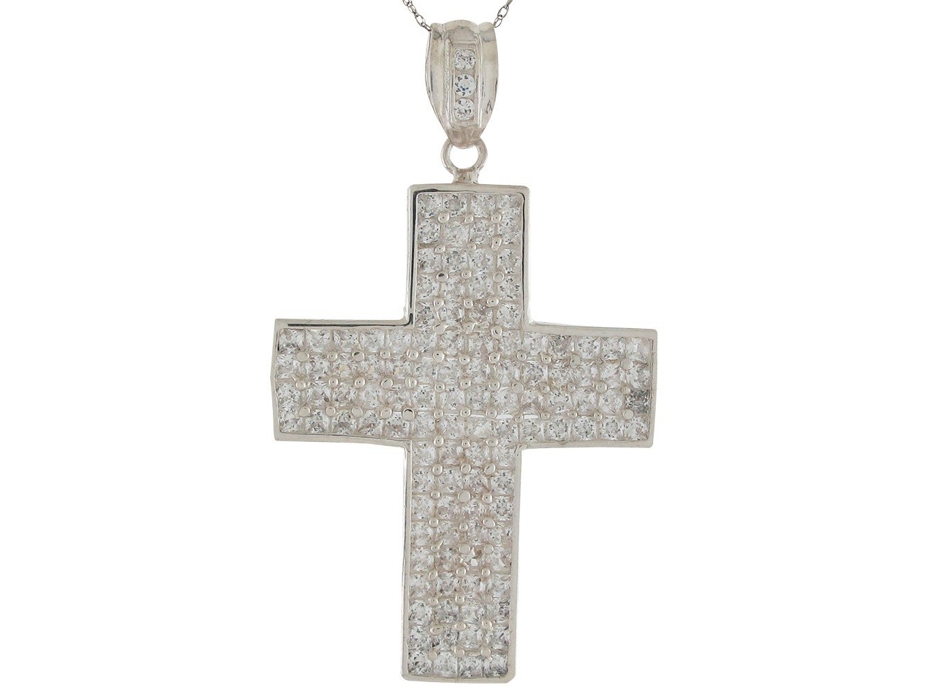 Brilliant White CZ Accented Huge Traditional Latin Cross Pendant 14k White Gold