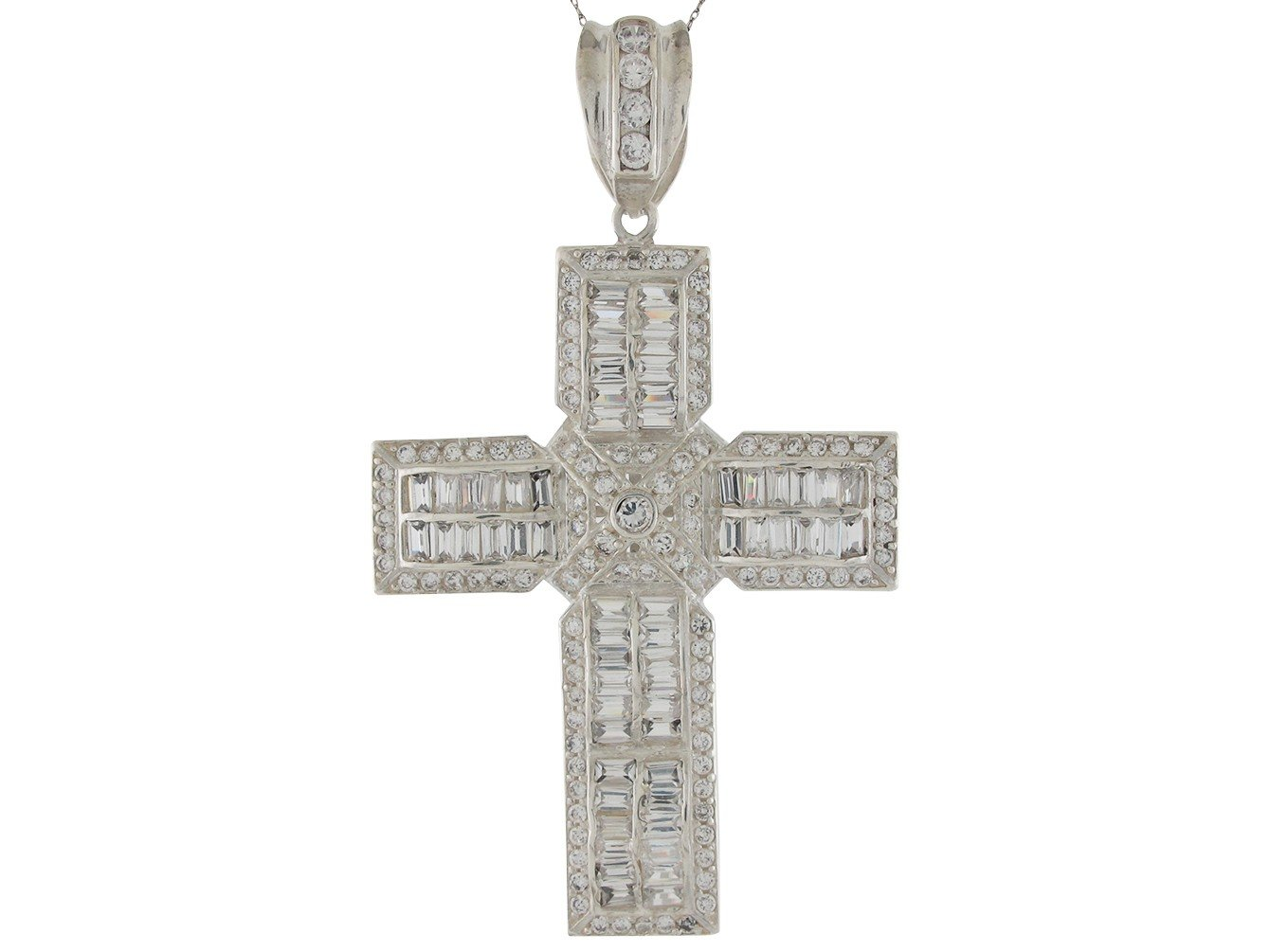 Brilliant Baguette and Round CZ Accented Huge Latin Cross Pendant 14k White Gold