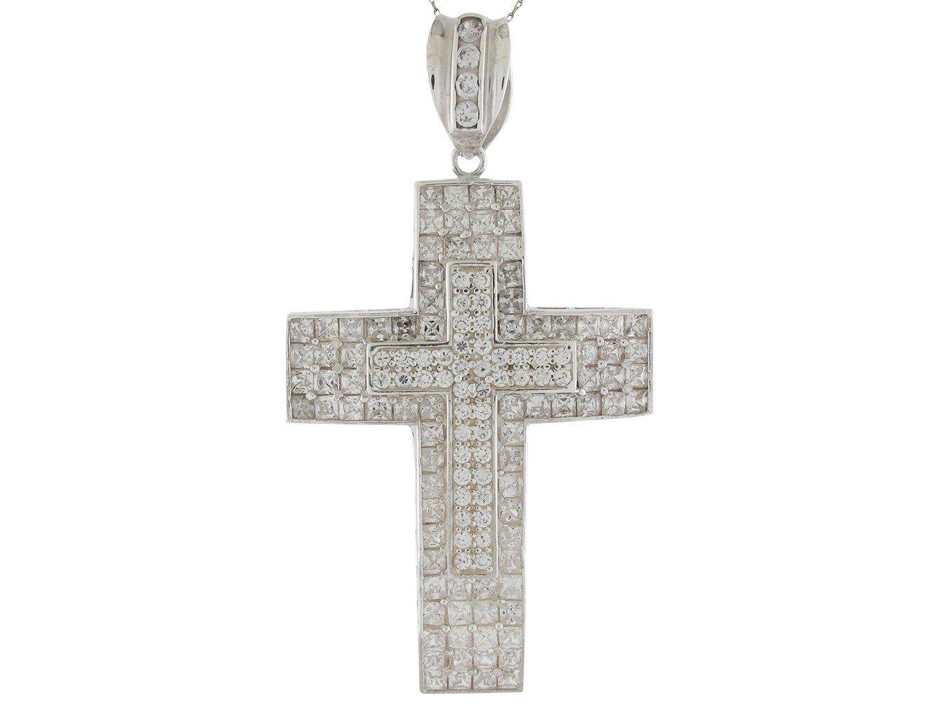 Brilliant White CZ Accented Huge Double Latin Cross Pendant 14k White Gold