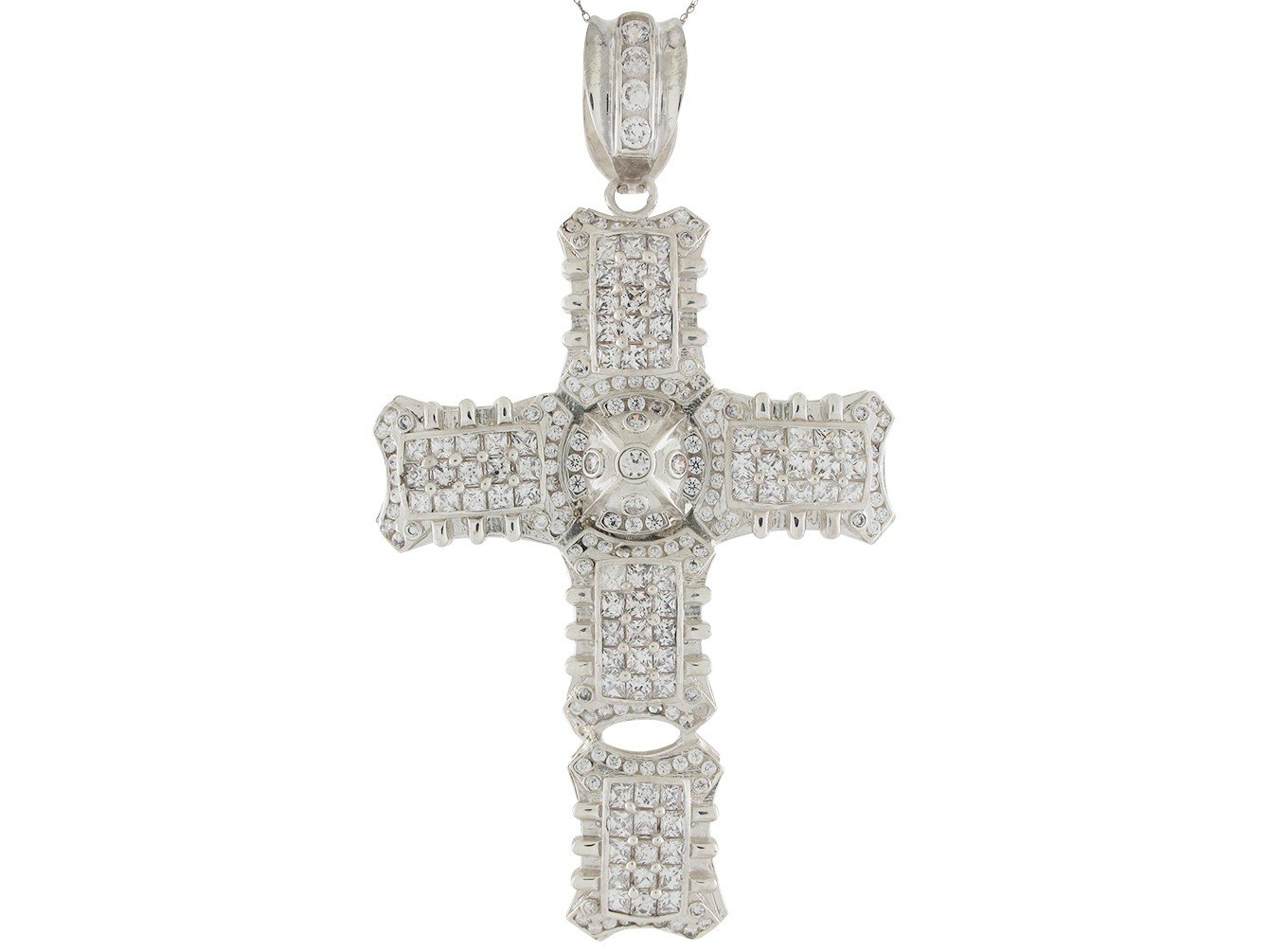 Shimmering White CZ Accented Unique Huge Latin Cross Pendant 14k White Gold