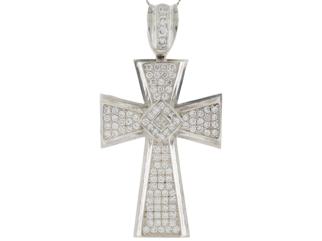 Shimmering White CZ Accented Fancy Huge Pattee Cross Pendant 14k White Gold