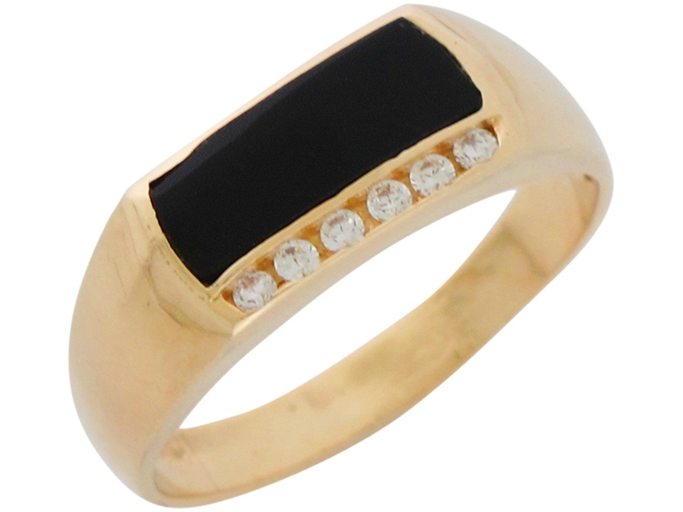 Mens Ring 14k Gold Classic Design Onyx and Genuine Diamonds Accented