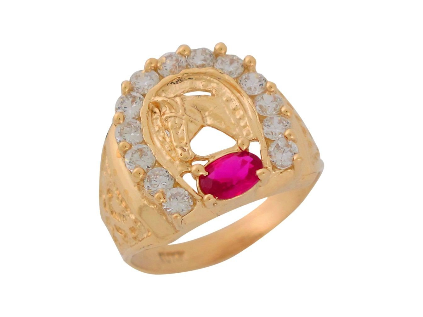 Mens Ring 10k Gold Synthtetic Ruby White CZ Horse with Horseshoe Frame