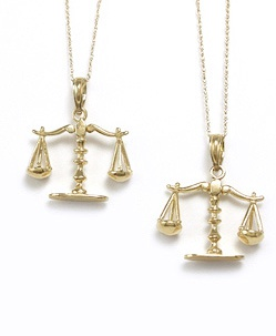 14 Kt Movable Scales Pendant 14 Kt Movable Scales of Justice